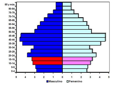 Ampliar. Gráfico 1. Estructura de la población cubana por edad y sexo 2011
