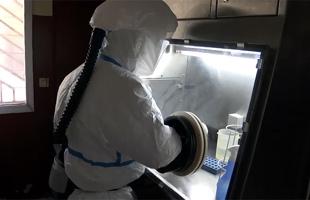 Trabajador procesando material de la enfermedad por el virus del Ébola. Imagen: OPS