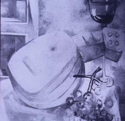 Pintura volumétrica de mandolina por Fernando Botero
