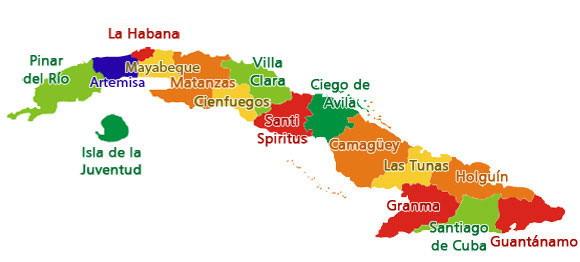 Mapa de Cuba provincias 2010