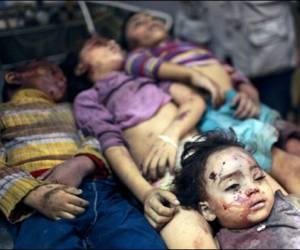 Niños fallecidos por bombardeo israelí a Gaza