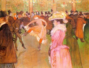 training of the new girls by valentin at the moulin rouge cuadro  de Henri de Toulouse Lautrec. Coleccion Molino Rojo