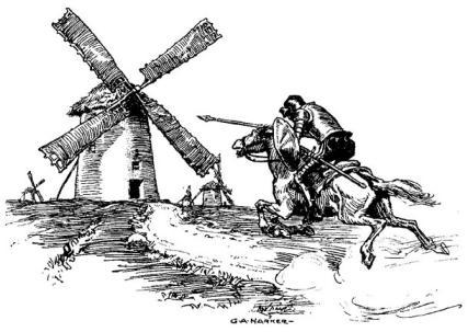 Don Quijote. Imagen: ilustrador G.A.Hharker
