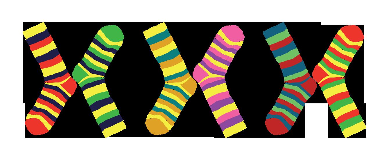 Medias coloridas para la trisomía del par 21